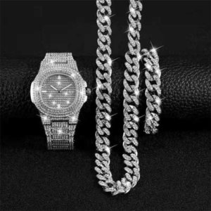 Hyperbole Rock Hiphop Miami Curb Cuban Chain Gold Iced Out Paved Rhinestones Cz Bling Rapper for Men Fashion Watch Necklace Gift