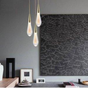 Modern Luxury Water Drop Crystal Led Pendant Lights Living Room Lamp El Villa Bedroom Restaurant Indoor Lighting Fixture Lamps