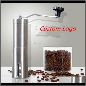 Custom Logo Grinder Bean Manual Stainless Steel Portable Kitchen Grinding Tools Perfumery Cafe Bar Handmade Coffee Mills 3Wdd Cihf4