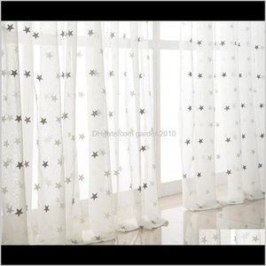 Treatments Textiles Home & Garden Drop Delivery 2021 Sheer Curtains Small Star Embroidered Living Room Bedroom Study Bay Window White Screen