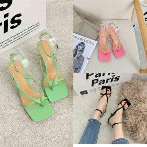 CNE5M Deri Topuk Amina Muaddi Rhinestone Dantel Sandal Topuklu Yeni Sandalet Kare Tasarımcı Toe Yüksek Kalite Kadınlar Klip At Nalı Yaz