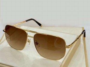Square Attitude Sunglasses Gold Metal Brown Shaded Mens Fashion Glasses des lunettes de soleil Mens Sunglasses uv400 protection with box