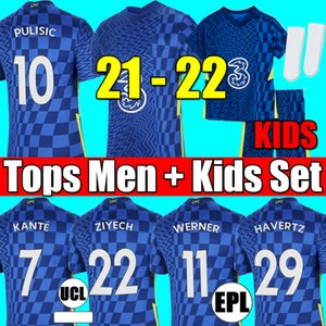 Chelsea fourth 20 21 22 WERNER HAVERTZ CHILWELL ZIYECH Soccer Jerseys 2021 2022 PULISIC home blue Football Shirt KANTE MOUNT 4th Men Kids set Kits tops with socks