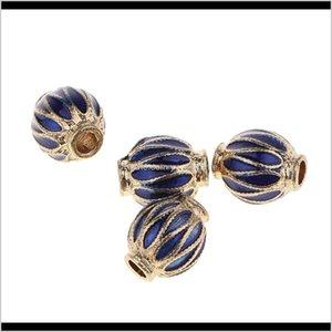 4 Pieces Barrel Bead Round Loose Charm Enamel Diy Handmade Braided Bracelet Materials Vintage Fashion Jewelry Findings B22Pz E58Ni