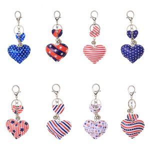 Diseñador americano bandera llavero de la fiesta favor colorido lindo patrón corazón forma llavero de la independencia día colgante regalo para niños adultos bolsa mochila cuelga al por mayor