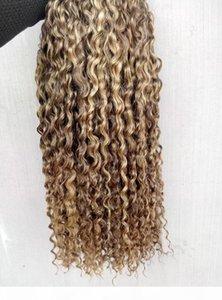 الصينية الإنسان العذراء مجعد الشعر ينسج الملكة منتجات الشعر براون شقراء 100 جرام 1bundle 3 حزم