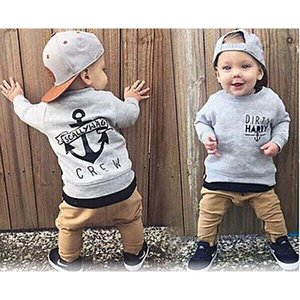 Kid Baby Boys Clothes Long Sleeve Cotton Grey Crew Sweater+Khaki Trousers 2PCS Trending Clothing Sets for Kids Boy 6M-4T Q1215