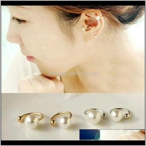 Clipon Screw Back Drop Delivery 2021 Vintage Sier Gold Cuff Fashion Womens Spring Jewelry Simple Stylish Simulated Pearl Nonpierced Ear Clip