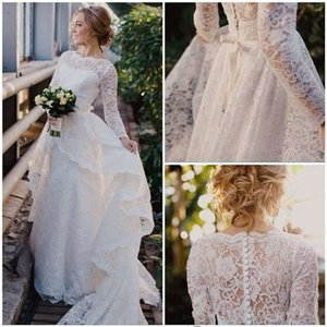 2019 New Long Sleeve Modest Wedding Dresses Detachable Train Scoop Neckline White Ivory Vintage Lace Bridal Gowns Custom Made Hot Sales W980