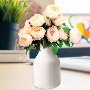 Bunch European Artificial Peony DIY White Pink 5 Big Head Silk Fake Flowers Bouquet Home Decoration Wedding Party Decor Decorative & Wreat W
