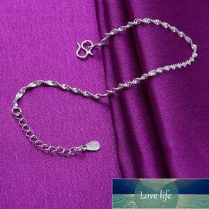 925 Sterling Silver Link Chain Anklet Charm Bracelets & Bangles For Women Wedding Gift Pulseira Feminina A181