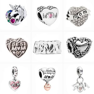 2021 Mother Series Charm DIY Love Mom Family Beads Fit Original Pandora Charms Silver Color Bracelet For Women Jewelry Wholesale
