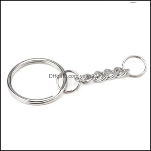 Outdoor Gadgets And Cam Hiking Sports & Outdoorspolished 25Mm Keyring Keychain Split Ring With Short Chain Rings Women Men Diy Key Chains Ae