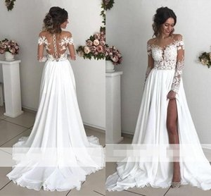 Exquisite Lace Chiffon A-Line Wedding Dresses 2021 Sheer Neck Long Sleeves Side Split Sweep Train Back Cover Buttons Country Bridal Gowns