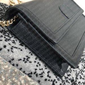 Mujer Woc Wallet en la bolsa de la cadena Bolso de hombro con la serie Número Caja de letras Imprimir lienzo Cuero genuino Diseñadores de la tarjeta de crédito Titular de la tarjeta Crossbody Bolsos Bolsos