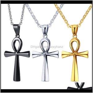 Pingentes Gota entrega 2021 Ankh Cross Pingente Colar de Aço Inoxidável para Mulheres Homens Hip Hop Charm Colares Declaração Vintage Oração Jewe