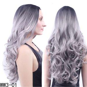 Middle bangs women's wig headgear black gradient granny grey long curly big wave