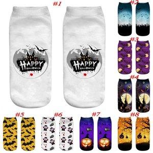 Halloween 3D Printed socks cute pumpkin boat socks Witch Cool Polyester short Socks for men women big children