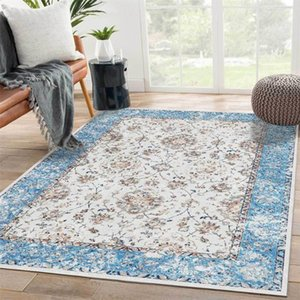 Carpets American Style SkyBlue Flower Room Mat Persian Printed Carpet Living Ethnic Rugs Bedroom Custom Rug Kitchen