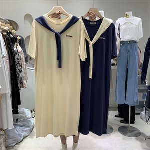 Camiseta Capuz Hoodie Manga Curta T-shirt Mulheres Verão Duas Peça Shawl Comprimento médio sobre o vestido do joelho