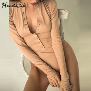 Huaxiafan women bodysuits solid long sleeve jumpsuits botton sexy rompers autumn tops vintage bodysuits elegant casual rompers 210427