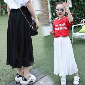 Kızlar Uzun Etek Çocuk Giyim Çocuk Pembe Siyah Pileli Etekler Genç Yaz 8 9 10 11 12 13 14 Yıl Anne 210623