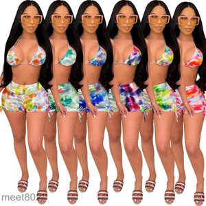 spring and summer women's sexy color printed two piece sets Nightclub clothes 2021 Designer V-neck Slim Fashion Sling shorts Outfits