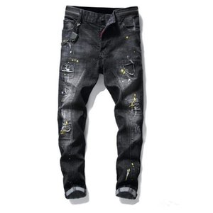 Mens Badge Rips Stretch Black Men Jeans Slim Fit Washed Motocycle Denim Pants Panelled Hip HOP Trousers Fashion