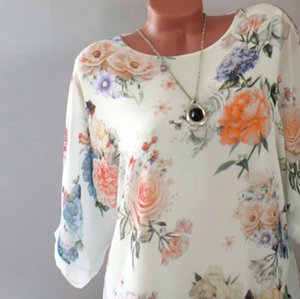 Colorful Womens Shirt Flower Blouse Women Plus Size Loose Bohemian O Neck Short Sleeve Cotton Female Pullover Tops