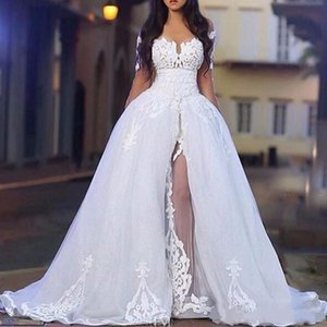 2021 Arabic White Elegant Off The Shoulder Wedding Gowns with Overskirt Long Sleeve Lace Bridal Party Ball Dresses Detachable Train