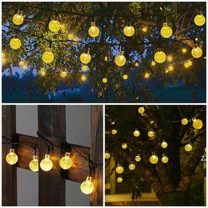 25mm LED Solar String Light Garland Decoration 8 models 20 Heads Crystal Bulbs Bubble Ball Lamp Waterproof Garden Christmas HWB10342