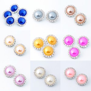 Chunks 18mm Ginger Snaps Crystal rhinestone faux Pearl Charm DIY Jewelry Fit Snap Button bracelet Necklace Jewelry in Bulk wholesale 298 G2