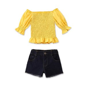Clothing Sets Girls Outfits Baby Clothes Fashion Child Suit Children Summer Kids Tops Jeans Denim Shorts 2Pcs 2-6Y B4542