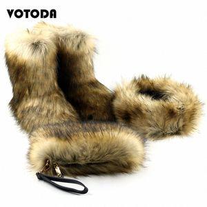 Зимняя теплая из искусственных меховых ботинок ботильоны моды пушистая сумка меховые повязки набор женщин повседневные пушистые снежные сапоги кошельки сумки матча горячие 2072 #