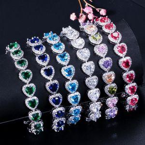 Chopucong Stunning Luxury Jewelry 925 Sterling Silver Heart Shape Multi Sapphire Gemstones Pave CZ Diamond Party Women Bangle Bracelet Gift