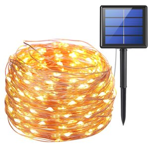 LED Strings, 10m 100 LEDs Solar Lamps Copper Wire Fairy String Patio Lights 33ft Waterproof for Outdoor Garden Christmas Wedding Party