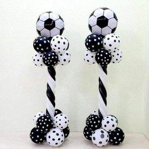 1set 18inch Aluminum Foil Football Balloon Column Black White Latex Balloon Football Theme Party Boy's Birthday Party Decor
