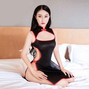 Сексуальные женщины, вылатые платье спинки масло главный блестящий косплей униформа эластичный высокий вырез Cheongsam танцевальная одежда F24 повседневные платья