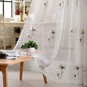 Curtain & Drapes Curtains For Living Modern And Simple Cotton Linen Light Luxury Translucent Embroidered Window Tulle Dining Room Bedroom