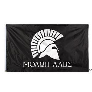 Fábrica directa 3x5fts 90cmx150cm colgando en blanco y negro griego espartano espartano Molon Labe bandera para la decoración AHE5574