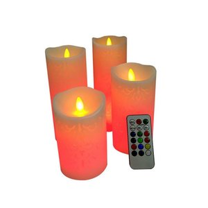 Hollow LED Flameless Candles 18-key Remote Control Timing Colorful Electronic Candle Wedding Party Home Decor XHH21-151