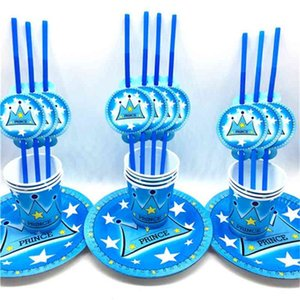 60pcs\\lot Kids Favors Prince Blue Crown Theme Straws Baby Paper Plates Happy Birthday Party Cups Decoration Party Supplies
