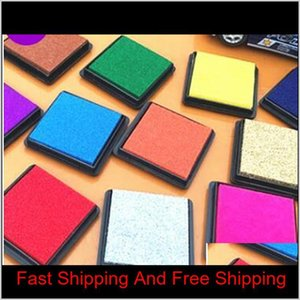 Desk Accessories Supplies Office School Business Industrial 500Pcs 15 Colors Craft Padcolorful Cartoon Ink Pad For Different Kinds Of