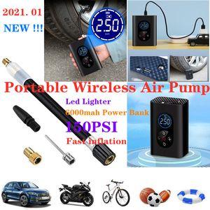 Mini tragbare Auto-Luftpumpe 150psi Auto für Motorradkugeln mit LED-Licht- und 4000mAh-Netzbank