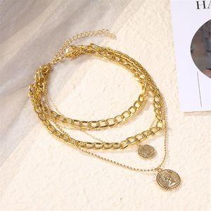Старинные многослойные цепи ожерелье женские ожерелье Triques Большая монета подвеска, ювелирные принадлежности 410 Q2
