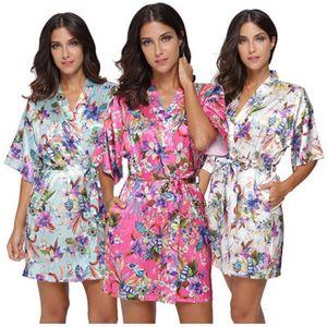 silk Women Flower Bridesmaid Satin Short Kimono Robe like Floral Print Bathrobe Lady Loose Nightgown Sleepwear Dressing XH0IFF