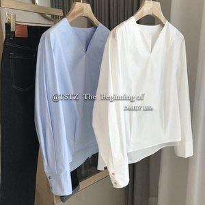 Women's Blouses & Shirts Solid Fashion Shirt Women Elegant V-neck Long Sleeve White Blue Straight Korean Style Pullover Blouse Top