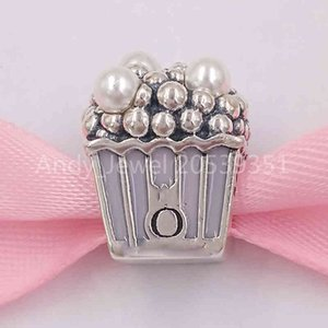 Authentic 925 Sterling Silver Beads Delicious Popcorn Charm, Pale Pink Enamel & Whiet Crystal Pearls Charms Fits European Pandora Style Jewe