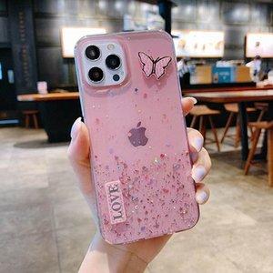 Fundas para teléfono de Bling para iPhone 12 11 Pro Max XS XR 7 8 Samsung Huawei Xiaomi Butterfly Love Back Tapa protectora