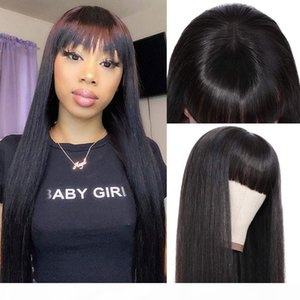Brazilian Straight Human Hair Wigs with Bangs Brazilian Virgin Hair 150% Density Machine Made None Lace Front Wigs for Black Women Glueless